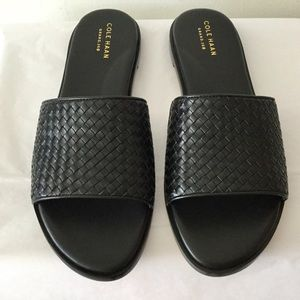 NIB Cole Haan Analise Woven Leather Slides Sz 8.5